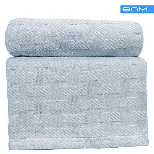 Basket Weave Twin/Twin XL Cotton Blanket, Soft Throw Blanket
