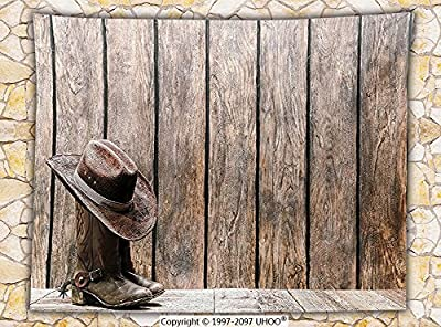 Western Decor Fleece Throw Blanket Wild West Boots in Wooden Room Folkloric Old Fashioned Wild Sports Theme Image Throw Brunette