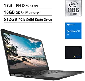 Dell 2020 Inspiron 17.3'' FHD Business Laptop, Intel i5-1035G1, 16GB DDR4 Memory, 512GB PCIe Solid State Drive, HDMI, WiFi, Webcam, DVD Drive, Win 10 Pro, Black, KKE Mouse Pad