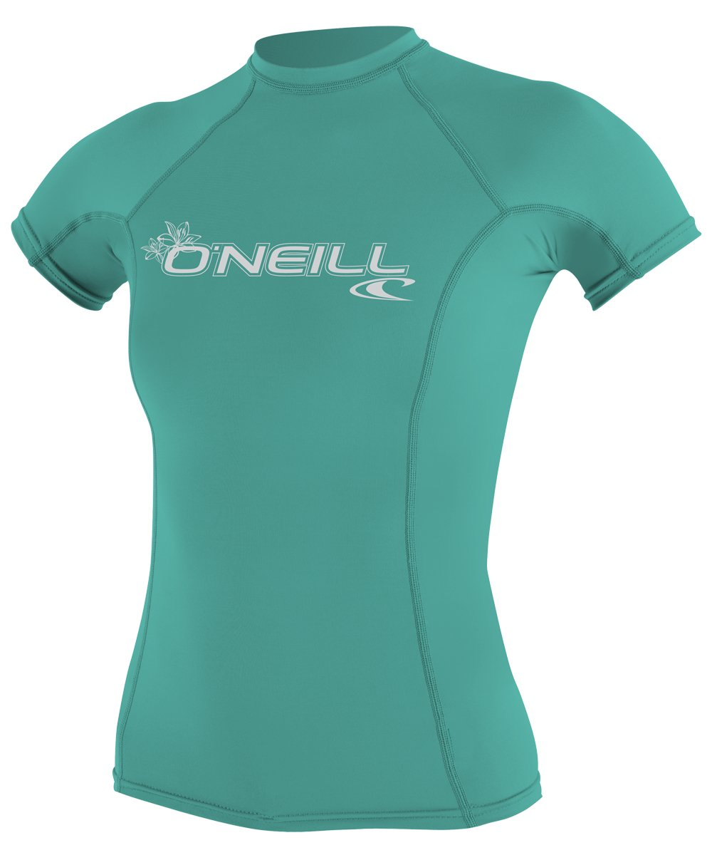 O'Neill Women's Basic 50+ Skins Short Sleeve Rash Guard, Light Aqua, Large by O'Neill Wetsuits