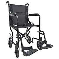 Aidapt Black Steel Compact Transport Wheelchair (Eligible for VAT relief in the UK)