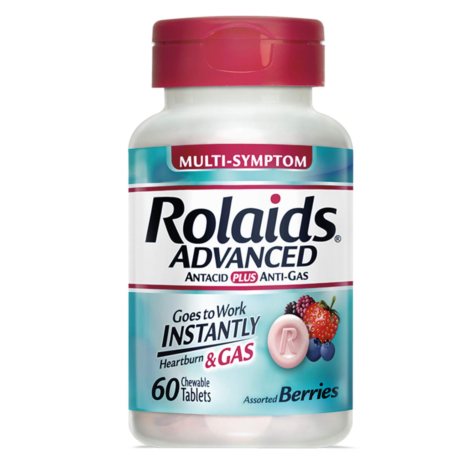 Rolaids Advanced Antacid Plus Anti Gas Tablets, Pink, Mixed Berry, 60 Count