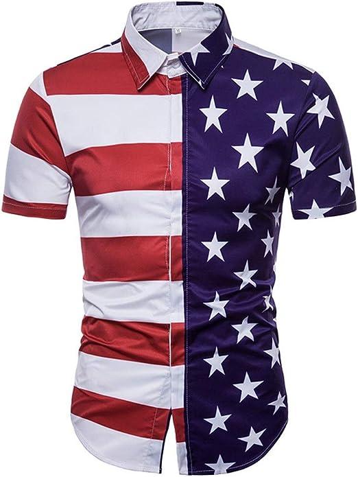 Camisa de los hombres Camisa de manga corta con estampado de estrellas a rayas para hombre