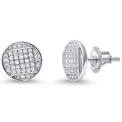 5b5ada387 Amazon.com: 8mm Stud Earrings Unisex Men Women Screwback 925 Sterling  Silver Round Hip Hop Ice Pave Cubic Zirconia: Jewelry