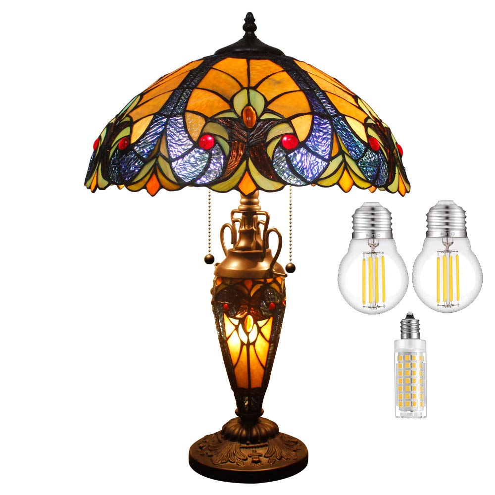 Tiffany Lamp W16H24 Inch (3LED Bulb Included) Yellow Stained Glass Liaison Lampshade Antique Coffee Table Desk Night Reading Light Base S160E WERFACTORY Lamps Lover Living Room Bedroom Study Gifts