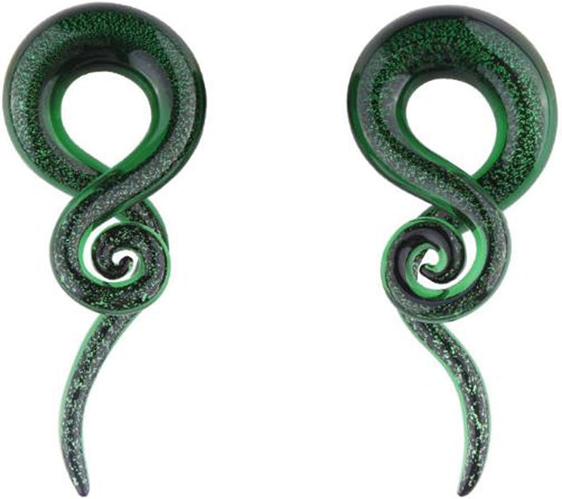 MissDaisy 3 Pairs Glass Ear Spiral Taper Plugs Ear Expander Ear Piercing Tunnel Plugs Gauges