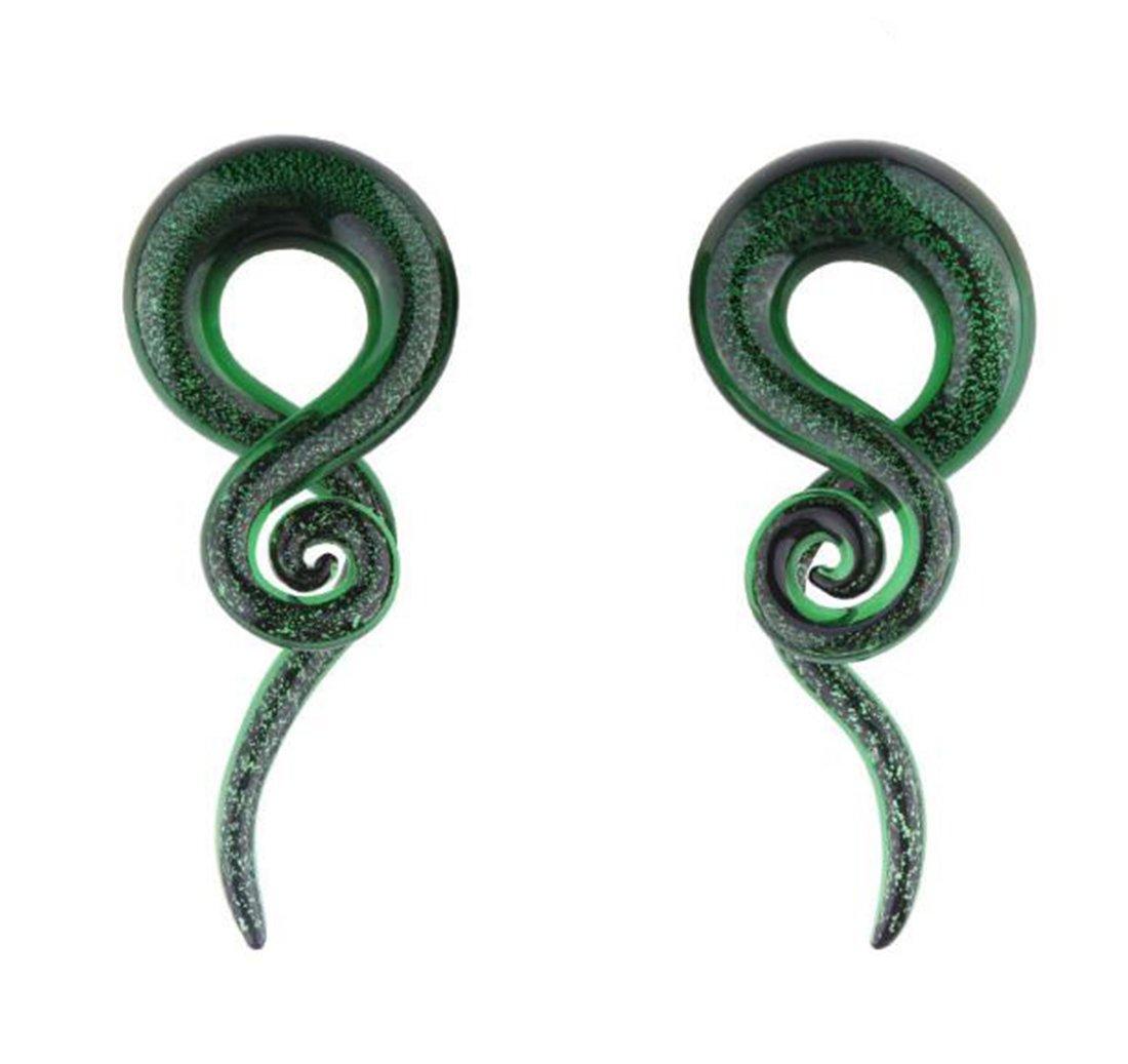 Piercing Ear Stretching Glass Spiral Tapers Ear Plugs Teal Glass Plugs (0 Gauge (8mm))