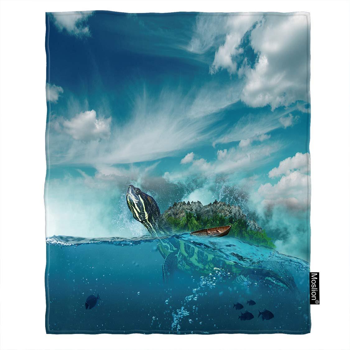 Moslion タートルスローブランケット 海 亀 海で泳ぐ 小さな魚 雲の下 空 ブランケット ホーム 装飾 フランネル 暖かい 旅行 ブランケット 30 x 40インチ ペット犬 猫用 ブルー 60*80 Inch BLANKETAZX-F268 B07L2JY9QC F267-1 60*80 Inch
