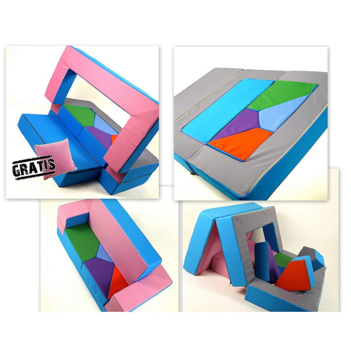 Barabike Spielsofa 4in1 Kindersofa KG01B Spielmatraze für Das Kinderzimmer Spielpolster Softsofa rosa hellblau Puzzle Kinderzimmersofa Spieltisch Kindermöbel
