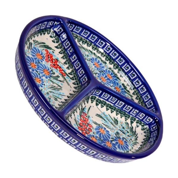 Polish Pottery Ceramika Boleslawiec 0727/169 Mercedes Divided Platter, 10-3/4-Inch in Diameter,