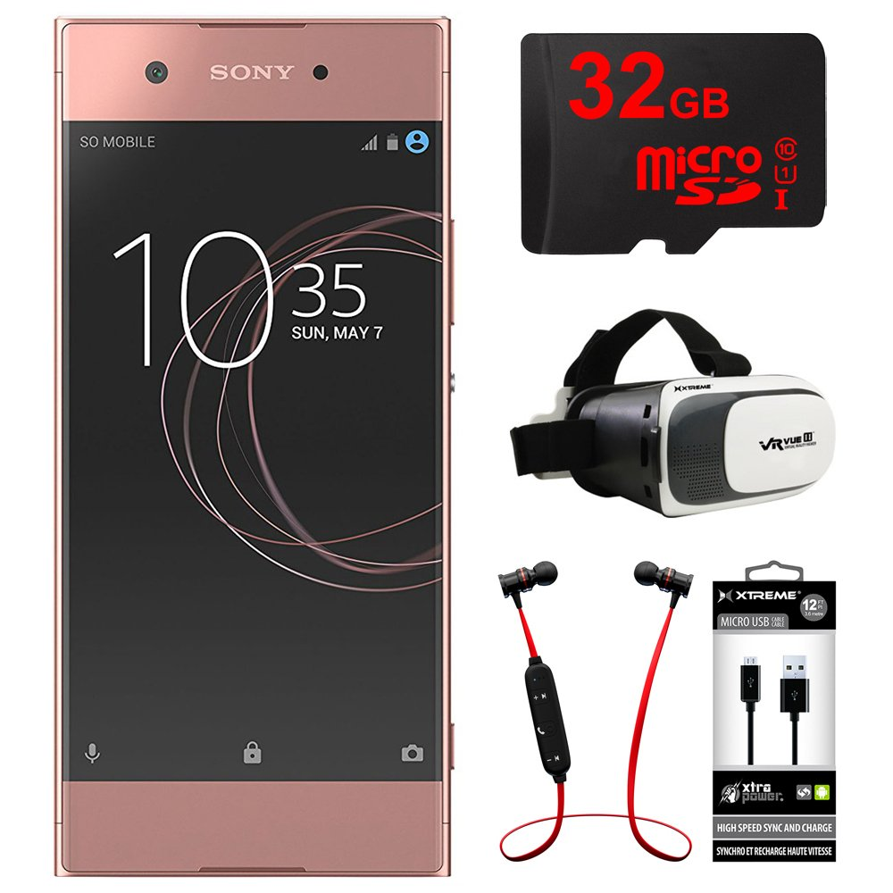 Sony XA1 16GB 5 Smartphone, Unlocked - Pink (1307-4956) w/ 32GB Bundle Includes, 32GB MicroSD Memory Card, Fusion Bluetooth Headphones, VR Vue II Virtual Reality Viewer & USB Micro-B to USB-A Cable