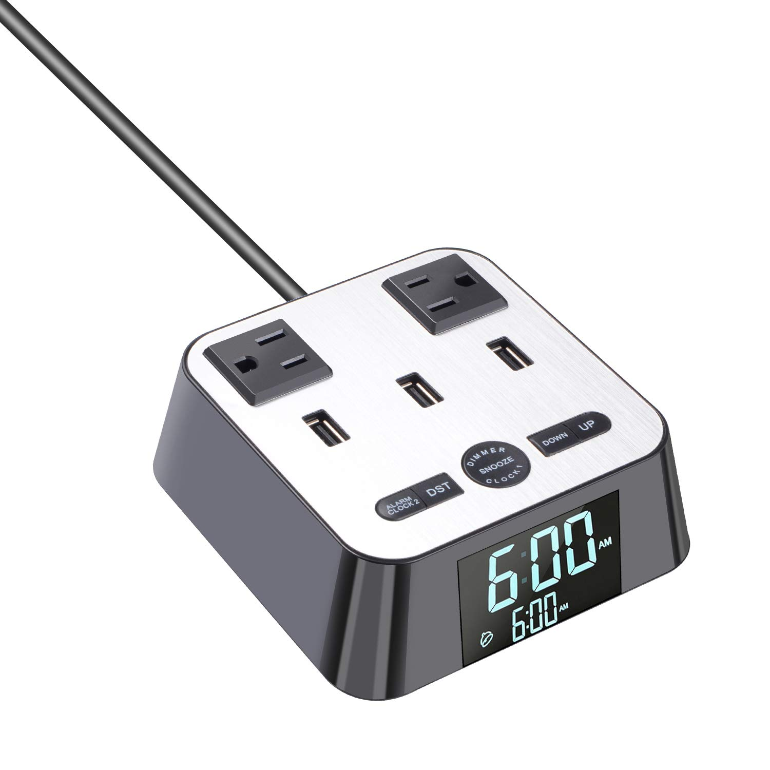 Yostyle Alarm Clock Charger with 3 USB Ports and 2 Power Sockets Outlets 6ft Power Cord Charging Station (Display Dimmer,Snooze Function, Independent Switch,DST Time)