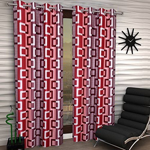 Super India Abstract 4 Piece Eyelet Polyester Window Curtain Set – 5ft , Red