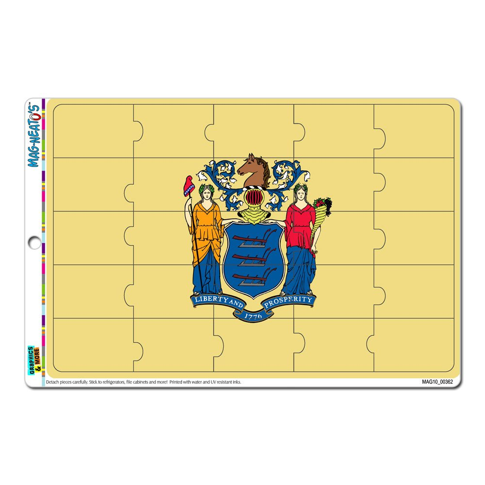 Graphics and More New Jersey State Flag MAG-NEATOS Novelty Gift Locker Refrigerator Vinyl Puzzle Magnet Set