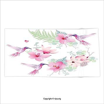Vipsung Mikrofaser Ultra Weiche Handtuch Kolibris Dekoration Collection  Muster Mit Vögel Und Blumen Klassischer Stil Ornament