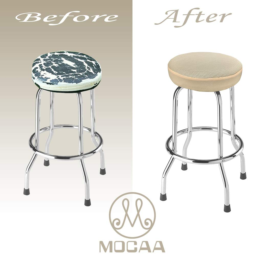Beige, 12 MOCAA Bar Stool Covers,Round Barstool Slipcovers,Stool Seat Covers 2 Pack