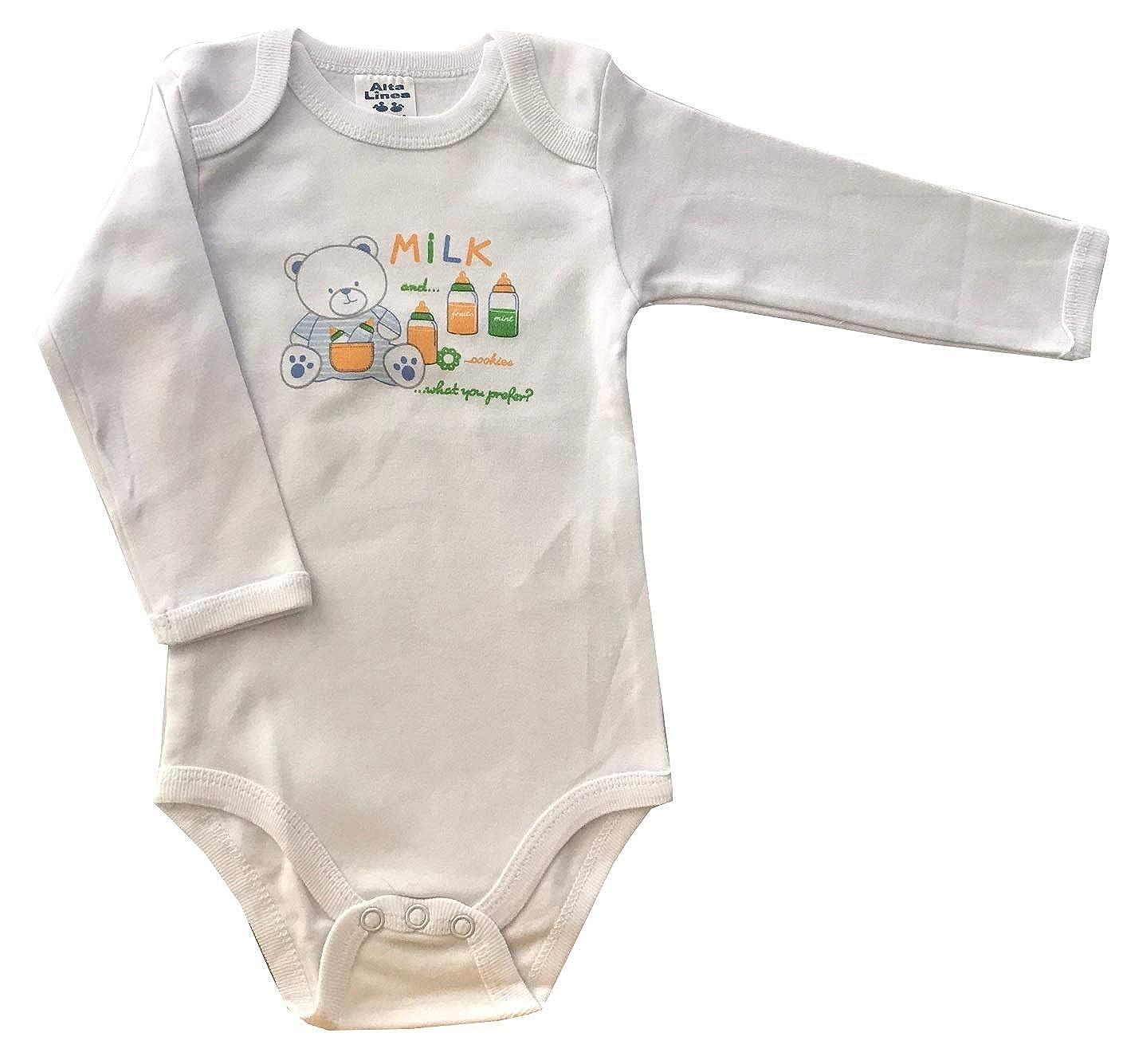 Pacco da 4 4 Body Manica Lunga in Caldo Cotone Bimbo Neonato Bambino