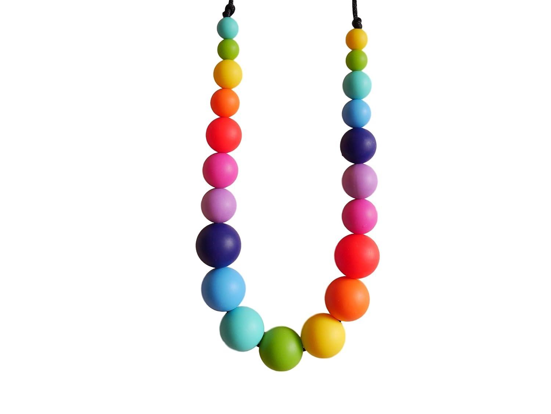 Rainbow Silicone Teething Necklace Breastfeeding Baby Nursing 21 Beads BPA Free, Hand-Made by MilkMama