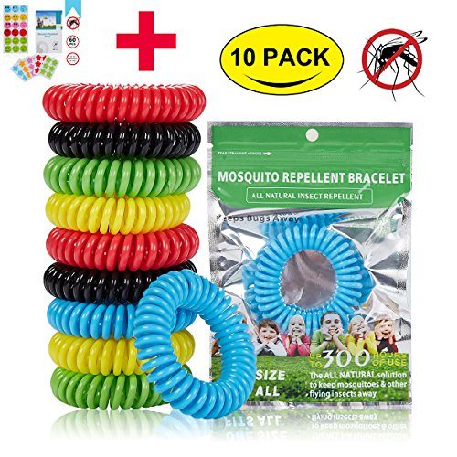 10 Hour Insect Repellent (Mosquito Repellent Bracelet (10-pack) and Patches (60-Count),Hohosb Natural Pure and Waterproof Wrist Band, Deet-free and Bugs Free, Lasts Up to 300 Hours for Kids and Adults Outdoor Camping Fishing)