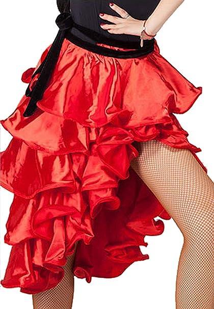 Grouptap Flamenco español Rojo Mujeres niñas satén Rizado ...
