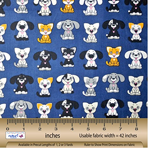 Cartoon Cats & Dogs - Fabric by the Yard - Selection of Color and Length - 100% Cotton (Blue, 1 Yard)