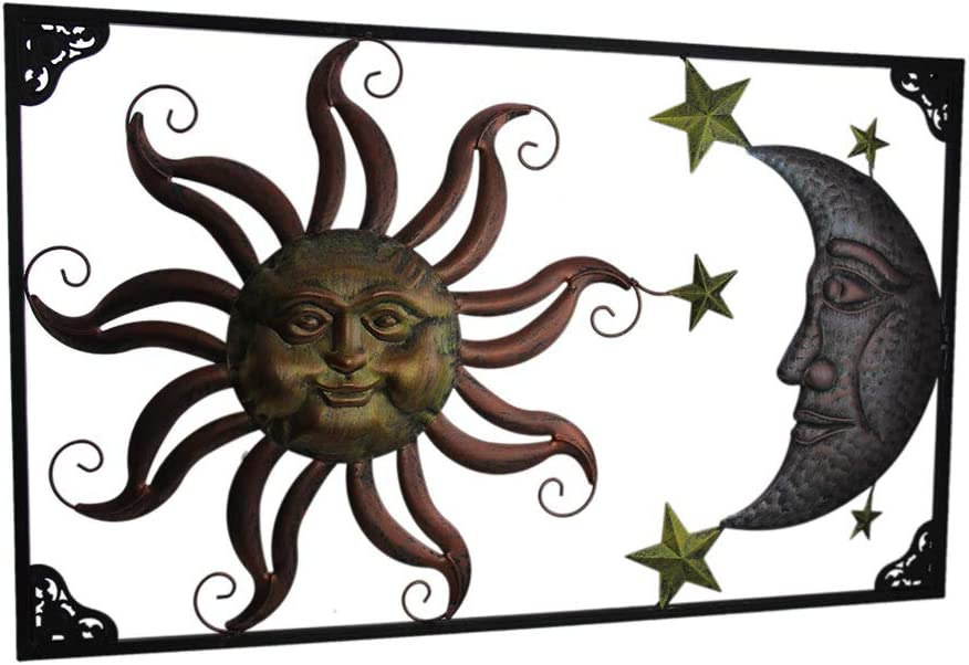 Zeckos Triple Tone Celestial Sun Moon and Stars Indoor/Outdoor Metal Wall Art
