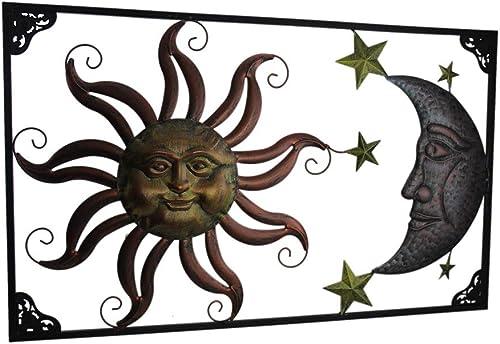 Zeckos Triple Tone Celestial Sun Moon and Stars Indoor/Outdoor Metal Wall Art