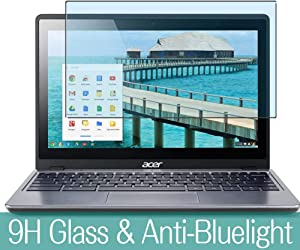 """Synvy Anti Blue Light Tempered Glass Screen Protector for Acer Chromebook C720P 11.6"""" Visible Area 9H Protective Screen Film Protectors (Not Full Coverage)"""