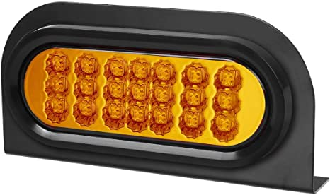 Partsam 2 Pcs Amber Oval 6-1//2 Sealed LED Turn Signal and Parking Light Kit with Mounting Brackets Faceted Led Trailer Lights w Amber Reflector on Trailers Less Than 80 Wide Grommet and Plug