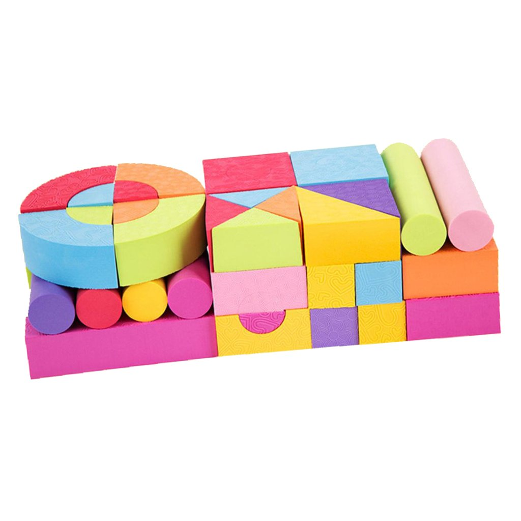 Sharplace 50 Pieces Non-Toxic Waterproof Foam Building Blocks with Carry Bag Kids Educational Toys