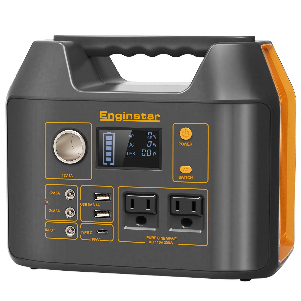 Enginstar Portable Power Station 298Wh, Backup Camping Lithium Battery Pack, 110V 300W Outdoors Solar Generator Solar Panel Not Included for Laptops Cellphones Drones and More Electronics