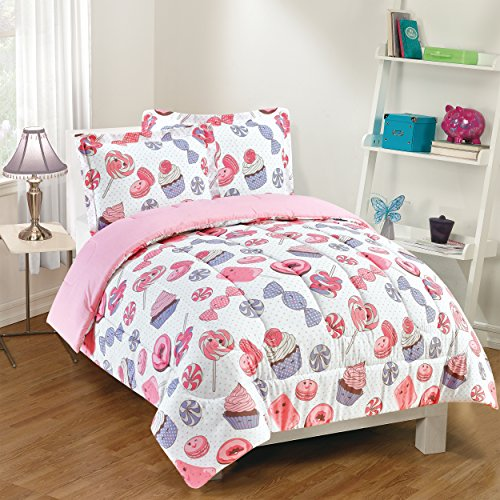 Gizmo Kids Sweet Treats Comforter Set, Twin, Pink (Candy Bedding)