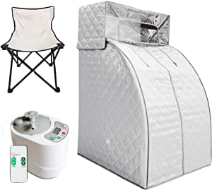 ZONEMEL Portable Steam Sauna Spa for Weight Loss, Detox, Relaxation at Home, Folding Private Sauna Tent, Head Coverage, 2L Steam Generator with Remote Control, Chair Included (US Plug, Silver)