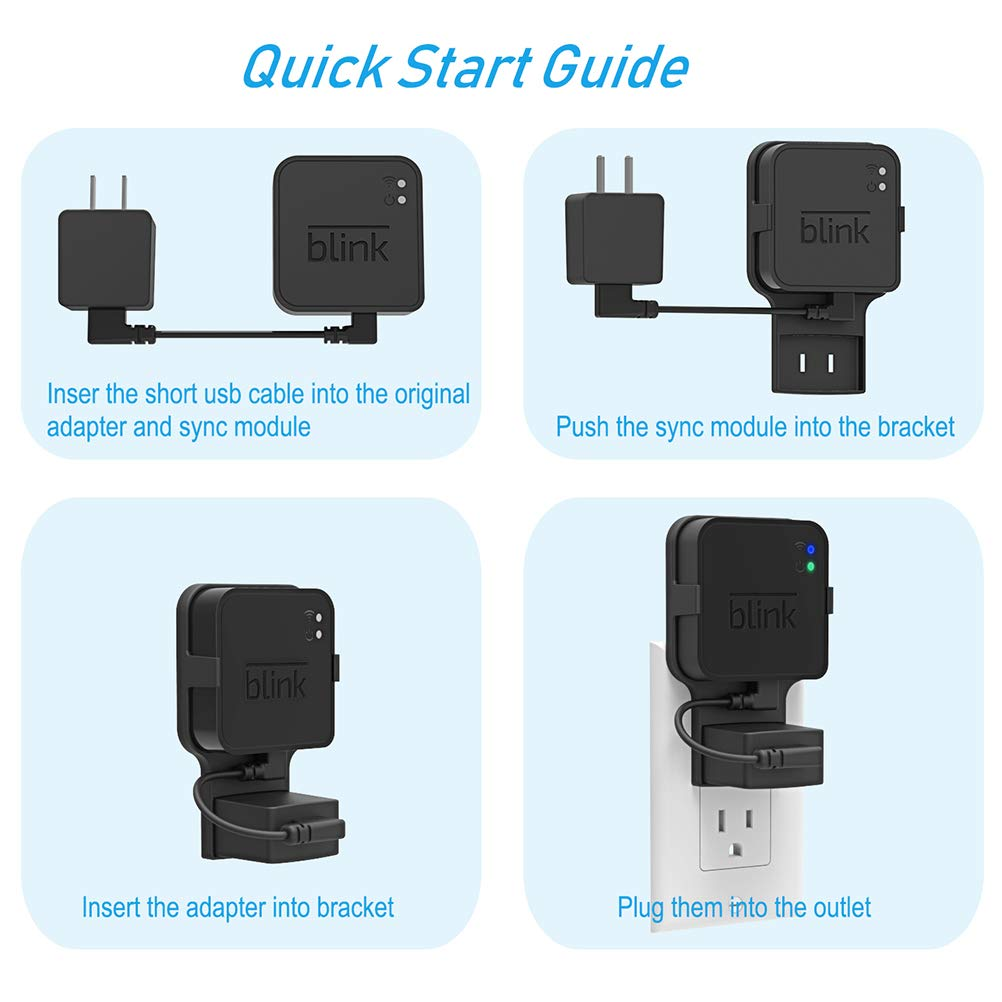 Outlet Wall Mount for Blink Sync Module, Gresur Simple Mounting Bracket Holder for Blink XT2/XT Unique Designed Outdoor and Indoor Security Camera Mount with Short Cable (1-Pack)