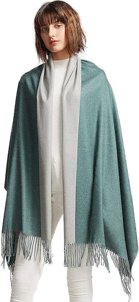 MaaMgic Schal Damen Zweifarbig Stola mit Baumwolle Pashmina Herbst Winter Mehrfarbige Deckenschal MEHRWEG