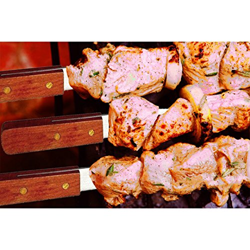Unique Imports Premium Large 23-Inch Stainless Steel Brazilian Barbeque Style BBQ Skewers (6 Pack, 1 Inch Wide Skewers) by Unique Imports