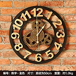 ZEM-PXD American town of wrought iron clock clock Home Furnishing retro living room decoration art personality silent clock,Golden number