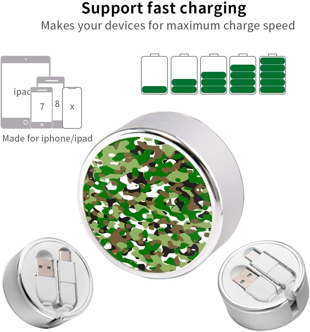 Lightweight and Portable USB Two-in-One Data Cable BANGBIG Green White Camouflage Round Two-in-One Data Cable