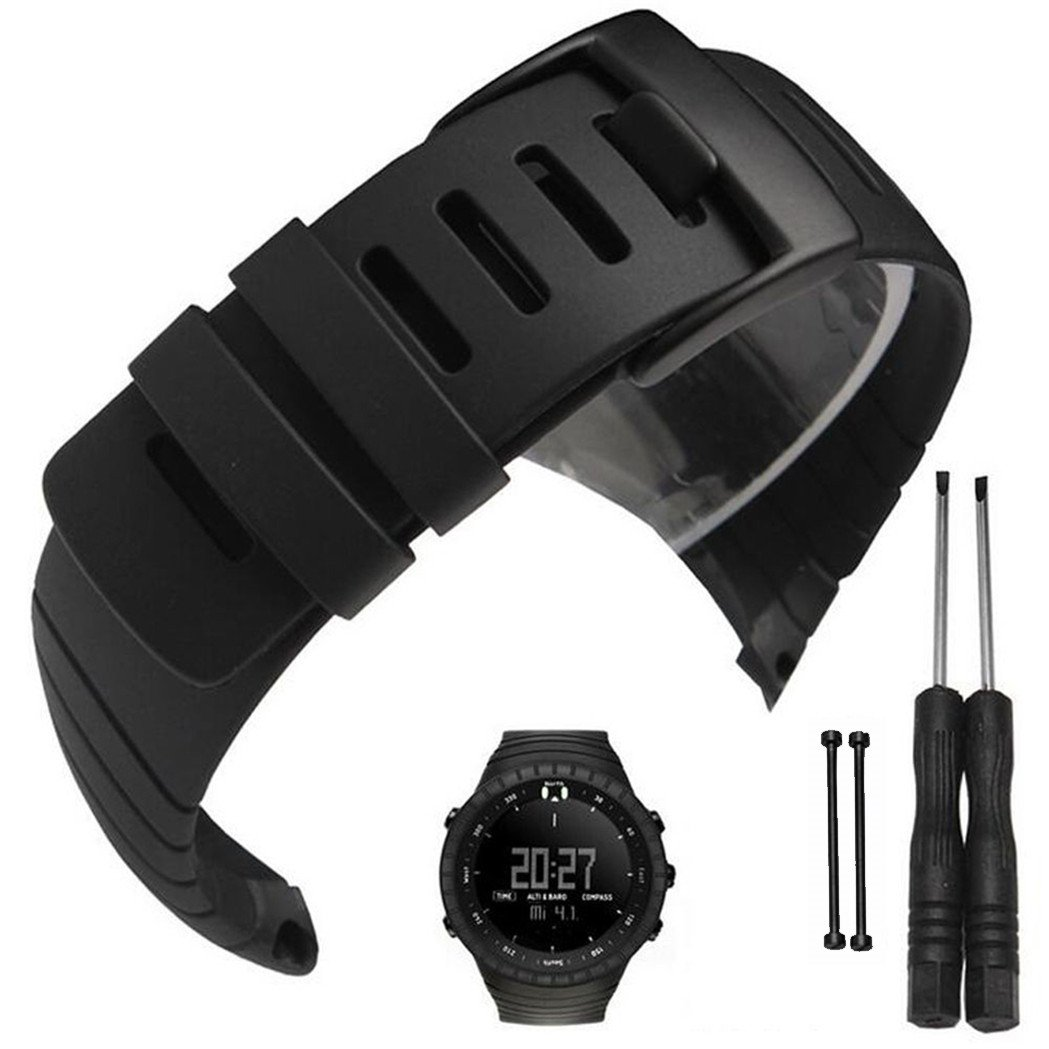 Picowe Suunto Core Watch Band Strap, Rubber Watch Replacement Band Strap Accessories for SUUNTO CORE All Black SS014993000/SS013336000/SS013337000