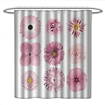 Pink and White Shower Curtain Gerber Daisy Print for Bathroom