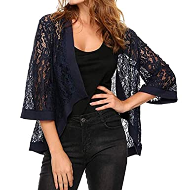 HARRYSTORE Frauen Casual Solid Hohlen Langarm Floral Lace