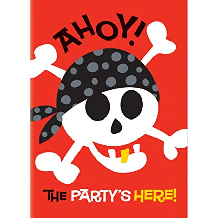 Amazon Com Pirate Party Invitations 8ct Kitchen Dining