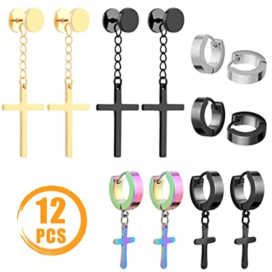3a378623bb9a77 Amazon.com: Quacoww 6 Pairs Stainless Steel Cross Earrings Hoop Earrings 3  Styles for Man and Women: Jewelry