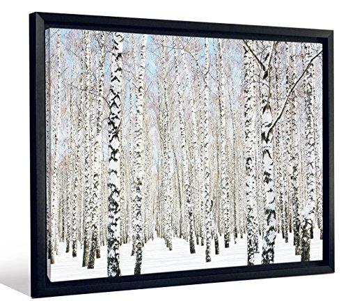 JP London Framed Lines of Birch Trees In Winter Snow Gallery Wrap Heavyweight Canvas Art Wall Decor, 20.375