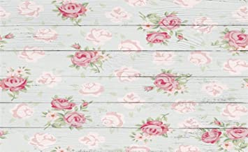 Leowefowa 5X3FT Floral Backdrop Shabby Chic Flowers On Nostalgia Stripes Wood Floor Backdrops For Photography Interior