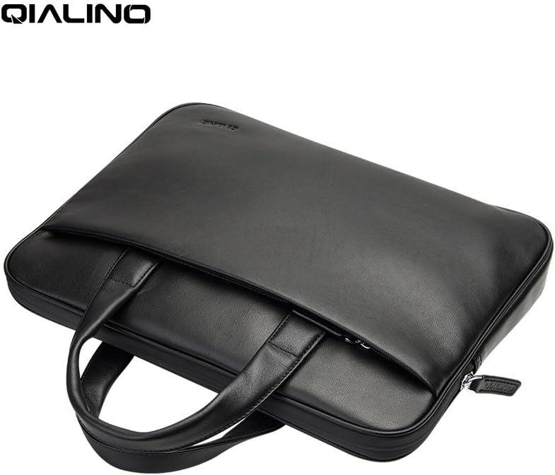 "QIALINO Genuine Leather 13 inch MacBook Pro Laptop Briefcase Shoulder Bag, Ultrabook Carrying Case Handbag for 13.3"" Dell/Ausu/Acer Swift/Lenovo/Samsung/Microsoft Surface/HP/Xiaomi Notebook, Black"