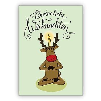 Lustige Yoga Weihnachtskarte Mit Yogi Hirsch Und Kerze Besinnliche