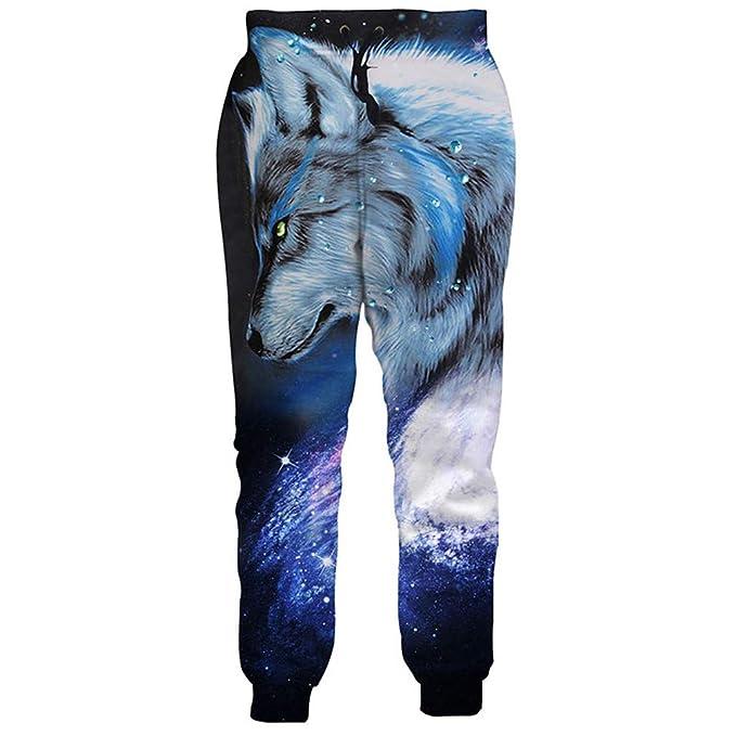 Bsrale Galaxy Wolf Pantalones de chándal Estampados Jogger Pantalones  Hombres Mujeres chándales Joggers Moda harén Pantalones Sueltos Pantalones   Amazon.es  ... 9e0e7363eb2
