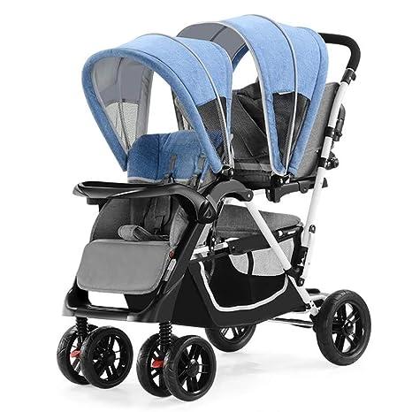 XICHENG Bebé Doble Cochecito Portátil Plegable Sentado Pedales Reclinables Gemelos Cochecitos para Bebé DE 0-