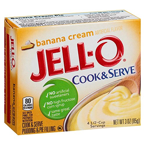 JELL-O Banana Cream Cook & Serve Pudding & Pie Filling Mix (3 oz Boxes, Pack of 6)